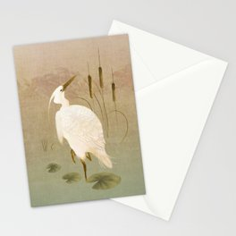 White Heron in Bulrushes Stationery Cards