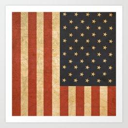Aged US Flag Art Print