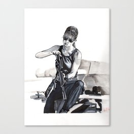 Sarah Connor Cleaning Her Gun Canvas Print