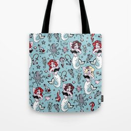 Molly Mermaid vintage pinup inspired nautical tattoo Tote Bag