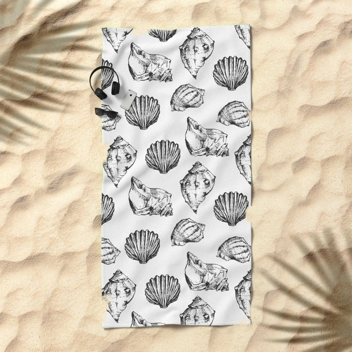 Seashells. Black and white Beach Towel