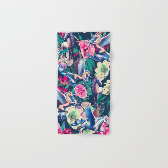 Unicorn and Floral Pattern Hand & Bath Towel