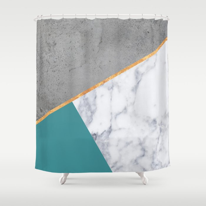 MARBLE TEAL GOLD GRAY GEOMETRIC Shower Curtain