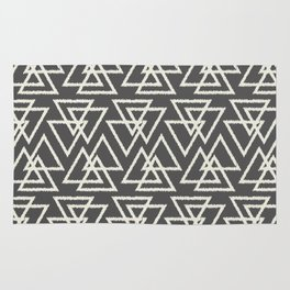 Trilogy Triangles-Dark Gray & Cream Rug