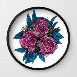 Magenta & Blue Roses Wall Clock