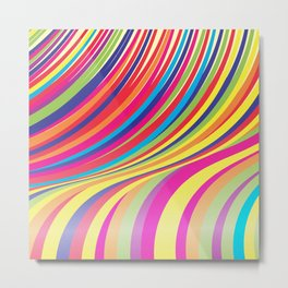 Crazy Fantasy Colorful Stripes Metal Print