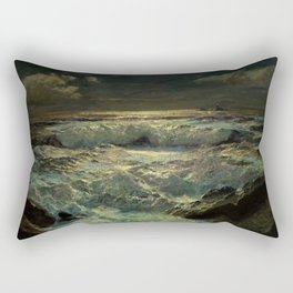 The Longships Light nautical landscape painting by Julius Olsson Rectangular Pillow