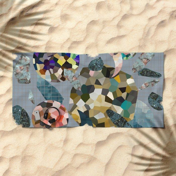 Gemstone Space Moon Beach Towel