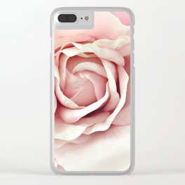 Shabby Chic Pastel Pink Rose Clear iPhone Case
