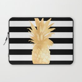 Gold Pineapple Black and White Stripes Laptop Sleeve