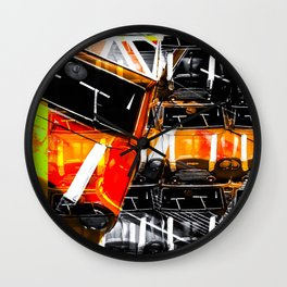psychedelic Mini Cooper orange sport car abstract background Wall Clock