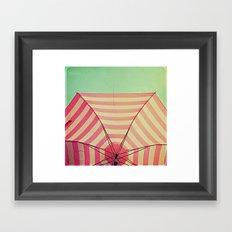 Pink Umbrella Aqua Sky Framed Art Print