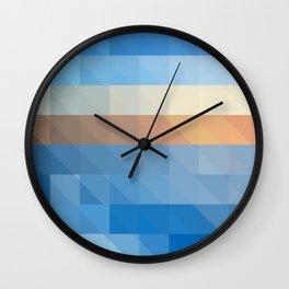 Geometric Pattern, Blue, Brown, White, Abstract Art, Wall Clock