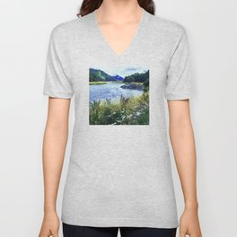 As a River Serpentines Through the Mountains Unisex V-Neck