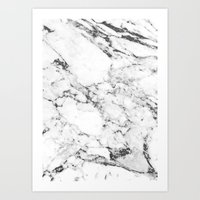 white marble Art Prints featuring Marble by MatiasMilton