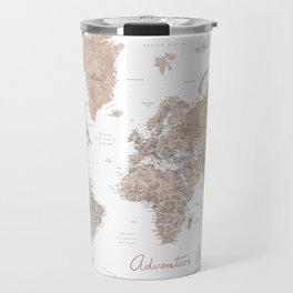 Adventure Awaits, brown watercolor world map with US state capitals Travel Mug