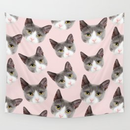 girly cute pink pattern snowshoe cat Wall Tapestry
