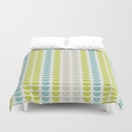 Grey, Green and Blue Abstract Stripe Pattern Duvet Cover