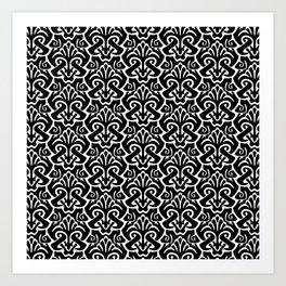 Art Nouveau Pattern Black And White Art Print