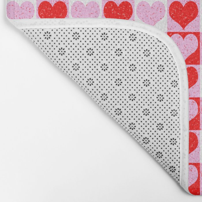 Love Heart Red Pink and White Check Pattern Bath Mat