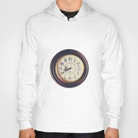 wall clock Hoodies featuring Old wall clock by Elisabeth Coelfen