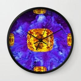 Golden Topaz Gems & Amethyst-Ultra-Violet Purple Color Wall Clock