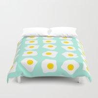 eggs Duvet Covers featuring Eggs Eggs Eggs by ANNIKA THORN