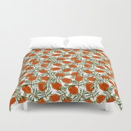Bottlebrush Flower - White Duvet Cover