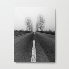 Abandoned Misty Road Black and White Fine Art Metal Print