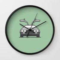 delorean Wall Clocks featuring #4 Delorean by Brownjames Prints