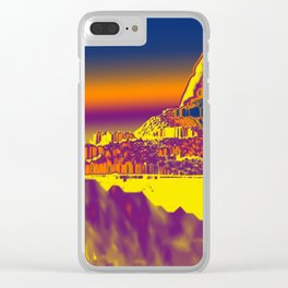 Mountain landscape colorful illustration painting Clear iPhone Case