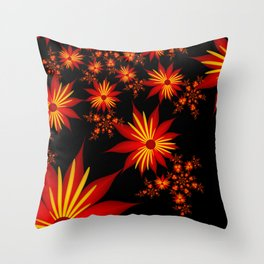 Flower Power Red, Yellow, Black Backgound Throw Pillow