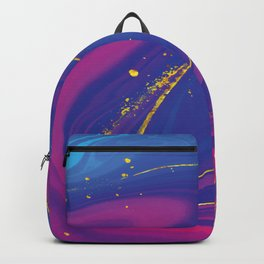 Colorful Golden Blue and Pink Marble Backpack