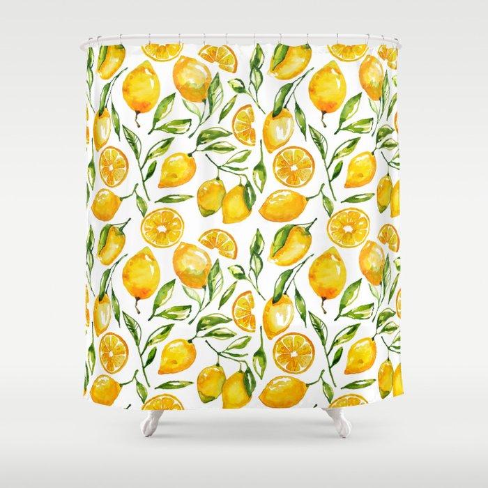 Lemon Watercolor Print Shower Curtain