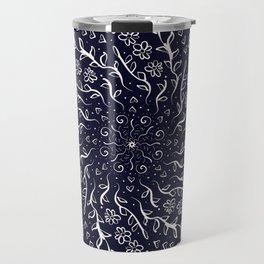 Blue flower spiral Travel Mug