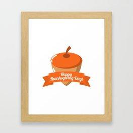 Happy Thanksgiving Day Chestnut Design Framed Art Print