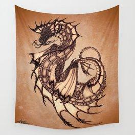 """Tsunami"" by Amber Marine ~ Sea Dragon (Amber Gem Version) ~ Graphite Illustration, (Copyright 2005) Wall Tapestry"
