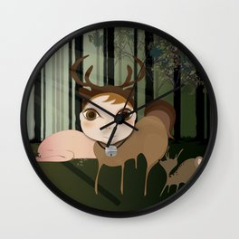 Deery Fairy in the Forest Wall Clock