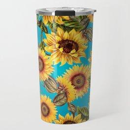 Vintage & Shabby Chic - Sunflowers on Teal Travel Mug