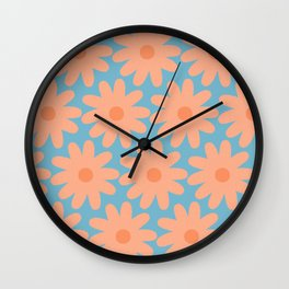 Crayon Flowers Cheerful Smudgy Floral Pattern in Apricot and Light Blue Wall Clock