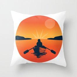 Boat Sun Sea Free Beach Vacation Nature Gift Throw Pillow