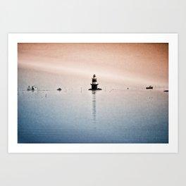 Fishing Near The Lighthouse Art Print