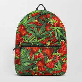 Cannabis and Strawberry Marijuana Floral Pattern Backpack