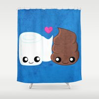 toilet Shower Curtains featuring The Best of Friends - Toilet Paper and Poop by Whitney Lynn Art