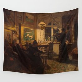 Anna Petersen - An evening with a friend. By lamplight.jpg Wall Tapestry