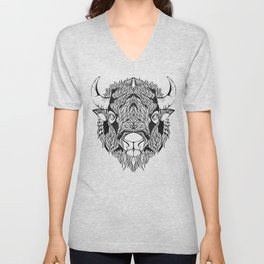 BISON head. psychedelic / zentangle style Unisex V-Neck