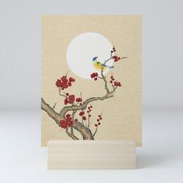 Plum blossoms, bird and the moon Type E (Minhwa: Korean traditional/folk art) Mini Art Print
