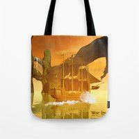 pirate ship Tote Bags featuring Pirate ship  by nicky2342