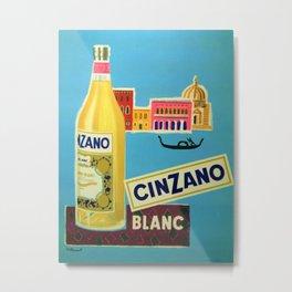 1955 Cinzano Blanc Venice Aperitif Italian Advertisement Poster Metal Print