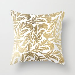 Elegant white chic faux gold foil floral damask pattern Throw Pillow